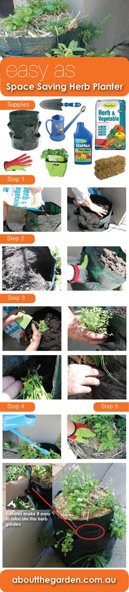 Easy As Planting up a space saving herb planter #spacesaver #gardening #searlesgardenproducts #aboutthegarden.com.au