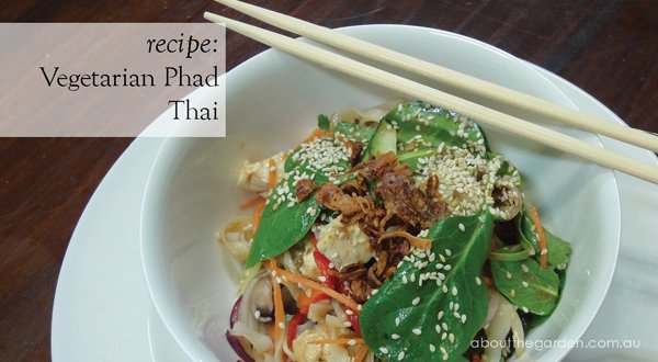 Vegetarian Dish Flat Rice Noodles Asian Herbs About The Garden Magazine