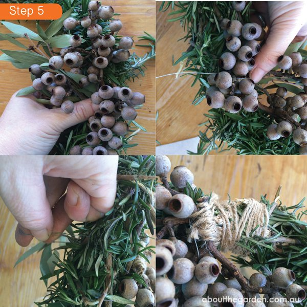 Rosemary wreath for Anzac Day DIY step 5