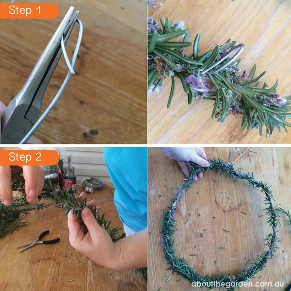 Rosemary wreath for Anzac Day DIY steps 1 & 2