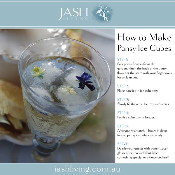 edible pansies in ice cubes for special entertaining at home. Autumn Flower ideas