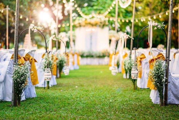 Garden wedding ideas chairs flowers