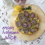 Onion and Haloumi savoury slice recipe.indd
